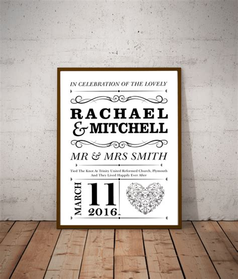 Wedding Prints by Personalised Wedding Print Gift Abc Prints