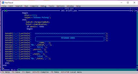 contoh program pascal menu restoran tutorial belajar coding