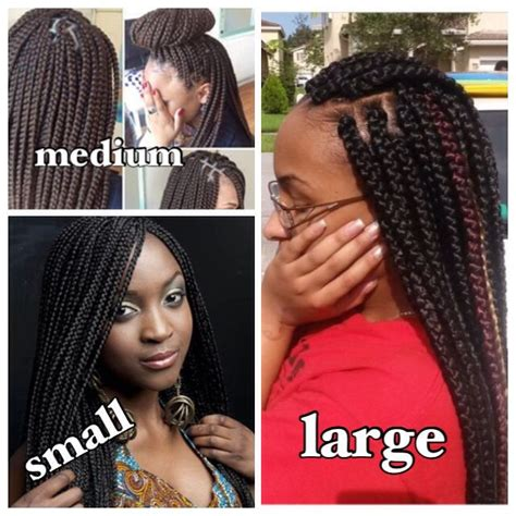 Different sizes of box braids   Natural hairstyles and