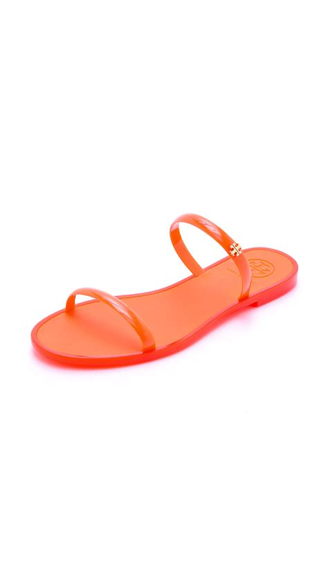 Jual Burch Tb Jelly Sandal Poppy burch two band jelly slides navy in orange poppy coral lyst