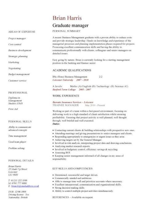 Cv Template Graduate Management Cv Template Managers Director Project Management Cv Exle