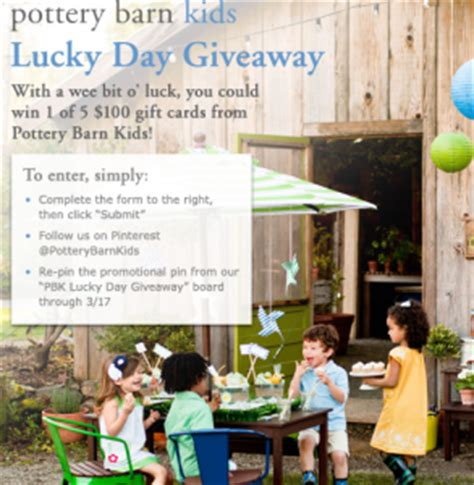 Pottery Barn Kids Gift Cards - pottery barn kids lucky day giveaway win a 100 pottery barn kids gift card