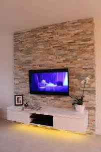 Contemporary living room with natural stone feature wall contemporary