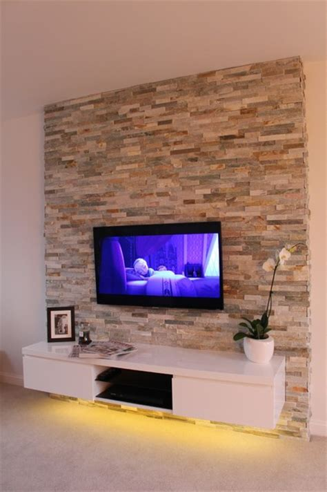 Stone Wall Tiles For Living Room by Contemporary Living Room With Natural Stone Feature Wall