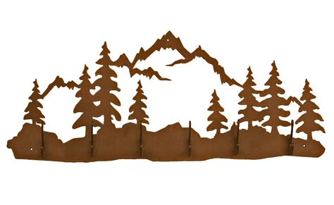 item gestell mountain and pine trees six hook metal wall coat rack