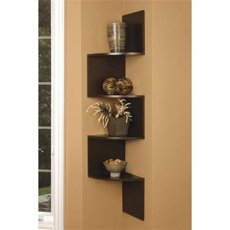 Brown Finish Large Corner Zig Zag Wallmount Wall Side Corner Wall Bookshelves