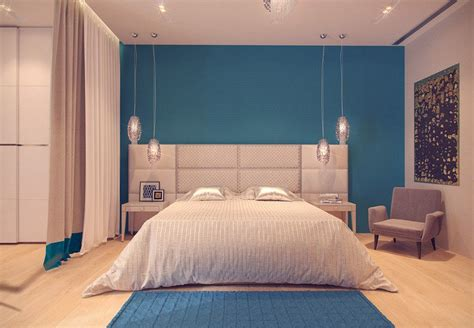 Exceptionnel Tendance Deco Chambre Adulte #3: Couleur-peinture-chambre-bleu-ciel-t%C3%AAte-lit-capitonn%C3%A9.jpg