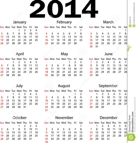 Calendar Year 2014 Calendar 2014 Royalty Free Stock Photos Image 33500178