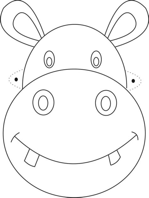 printable animal masks to color free printable animal masks templates hippo mask