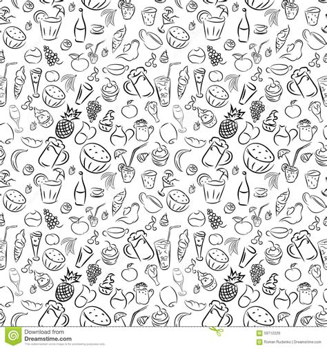 doodle royalty free texture seamless doodles cocktails and desserts fruits