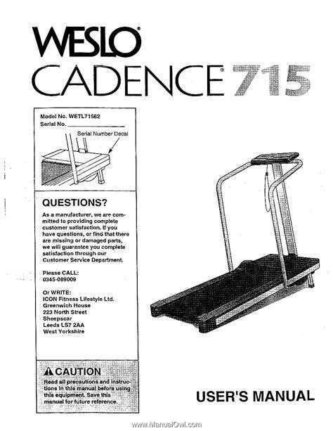 weslo cadence  treadmill uk manual page