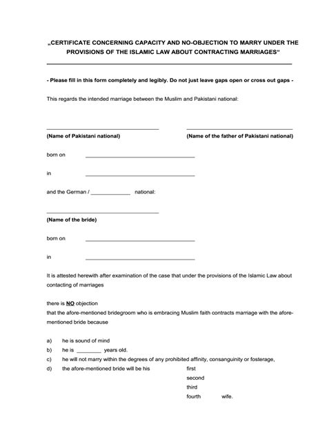 objection certificate marriage sample parents