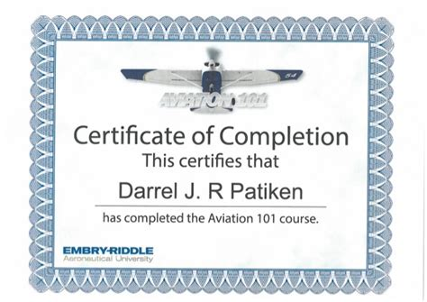 Embry Riddle Mba In Aviation Diploma by Certificate Of Completion Aviation 101