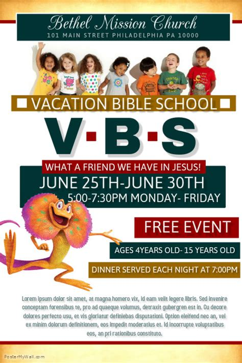 vbs flyer template vacation bible school template postermywall