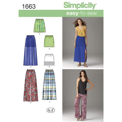 simplicity pattern ease pattern for misses easy to sew skirts pants simplicity