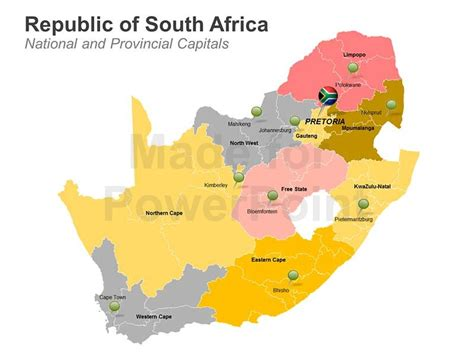south africa map provinces and capitals republic of south africa map editable powerpoint slide