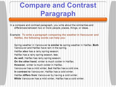 How Do You Write A Compare And Contrast Essay by Learning About Paragraphs Ppt