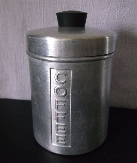 vintage metal kitchen canisters aluminum flour sugar coffee tea retro set of 4 metal