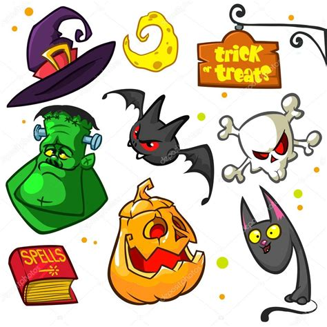 set of pumpkin and attributes icons witch cat