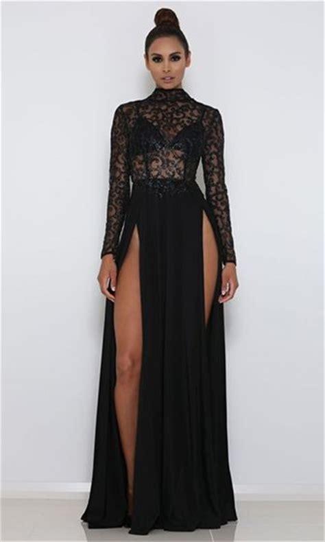 D Rahma Maxi high drama black glitter sheer mesh sleeve mock neck cut out back slit maxi dress