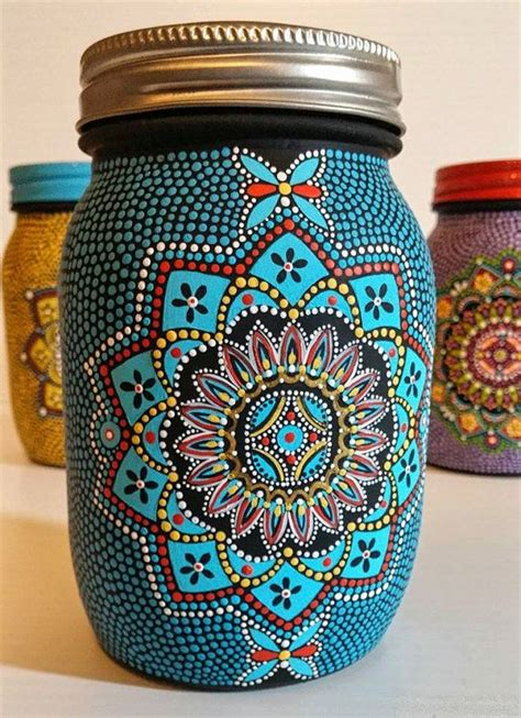 Painting Glass Jars by Painted Glass Jar I Painted This Jar One Dot At A