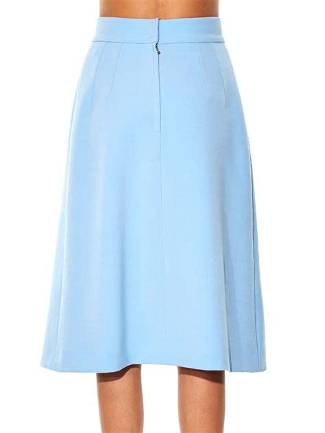light blue midi lyst dolce gabbana embellished wool midi skirt in blue