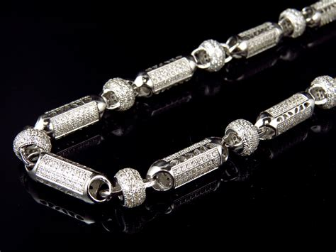 "Mens White Gold Sterling Silver 3D Lab Diamond Bullet Chain Necklace 8mm 32""   eBay"