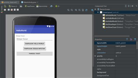 android studio linearlayout center hello world di android studio blog edinofri