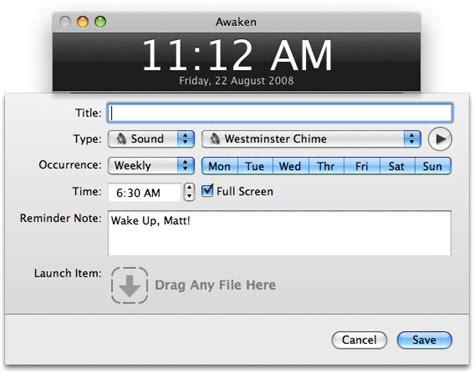 awaken turn your mac into an alarm clock reality distortion macs mac os x and apple stuff