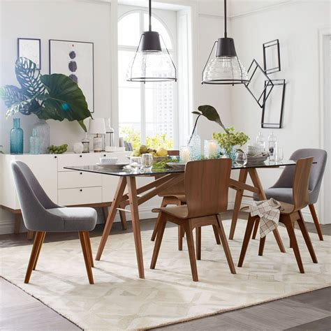 west elm dining room mid century dining chairs walnut legs west elm au
