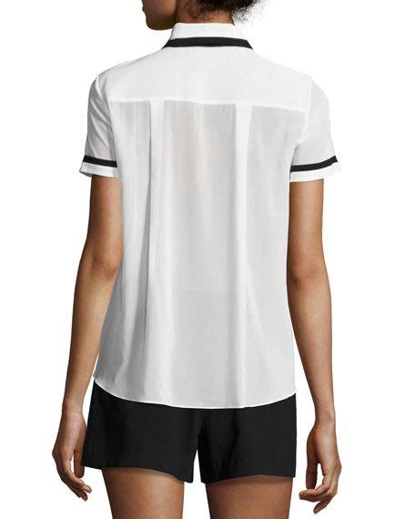 Tie Neck Sleeve T Shirt oswald tie neck sleeve shirt white