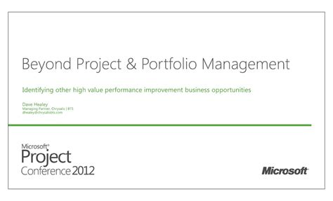 beyond project and portfolio management identifying other