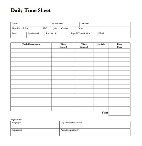 work time card template construction daily timesheet template templates resume