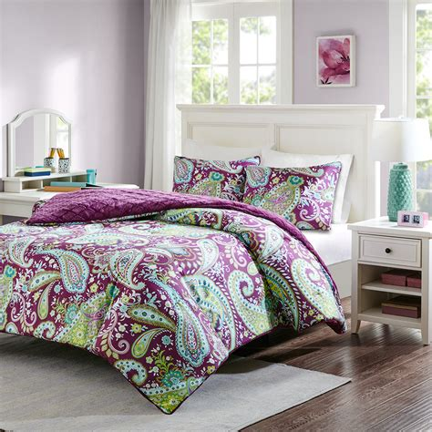 purple paisley comforter purple plush bedding reversible paisley teen girl