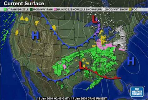 accuweather radar map snow and january 17 18 2004 surface maps