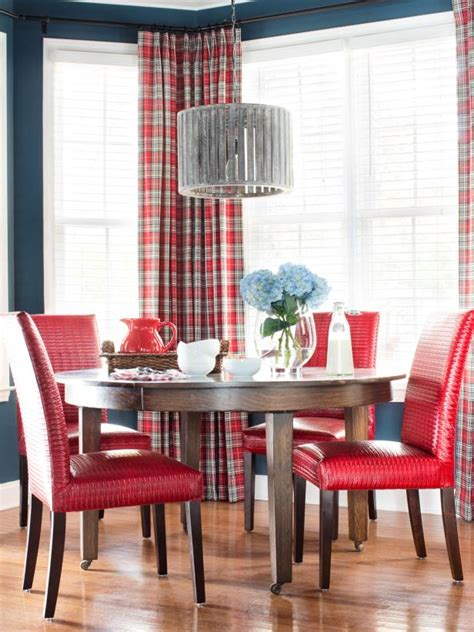 navy breakfast nook  red dining chairs  plaid