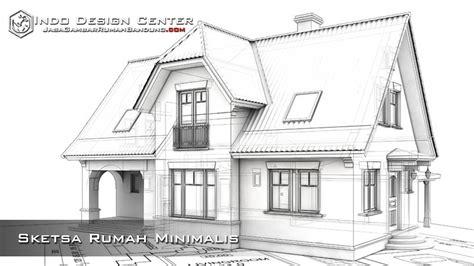 sketsa desain eksterior sketsa rumah minimalis jasa gambar rumah bandung