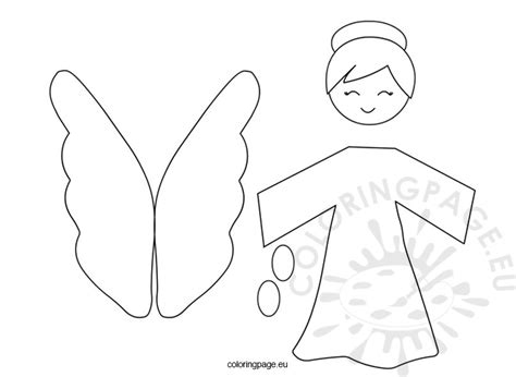 angel christmas template coloring page