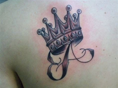 letter a and crown tattoo on scapular tattooimages biz