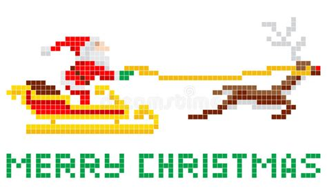 best pixel merry christmas pixel santa and sled stock vector image 33572198