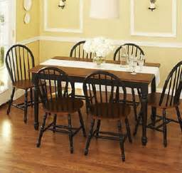 Farmhouse Dining Table And 6 Chairs 7 Farmhouse Dining Kitchen Set Table 6 Chairs Black And Brown Ebay