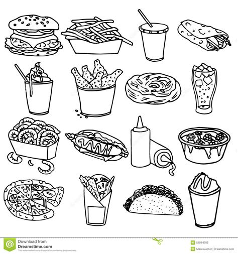 how do you make black food coloring fast food menu icons black outline stock vector
