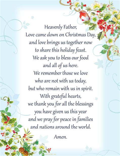 printable christmas dinner blessing holiday ideas