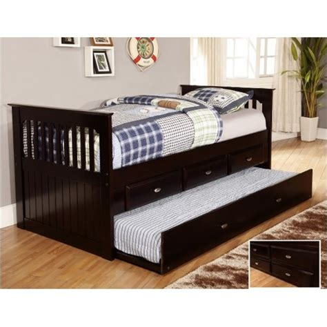 twin rake bed with 3 drawers and trundle espresso rake bed with 3 drawers and trundle