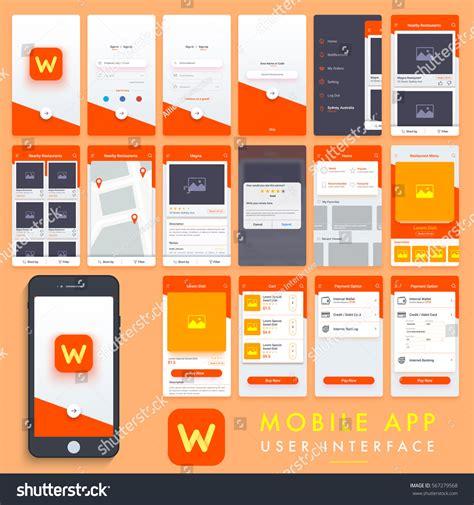 home design app manual search mobile apps material design ui stock vector