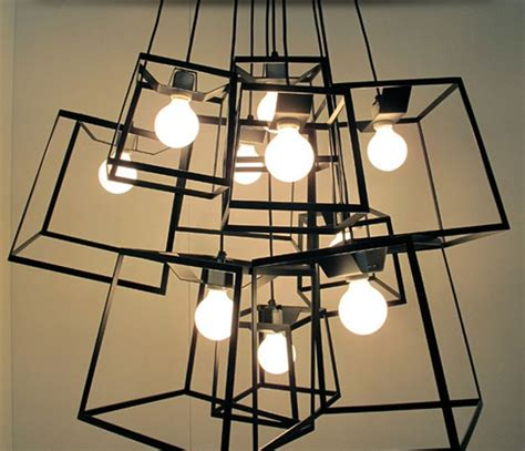 Modern Minimalist Cube Box Frame Pendant Light Geometric Geometric Light Fixtures