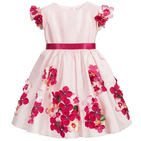 D8090 Dress Pink Flower lesy luxury flower pale pink satin dress with flowers childrensalon