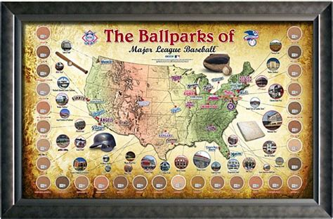 mlb cleveland indians mat small 20 x 30 in major league baseball parks map framed mlb print poster