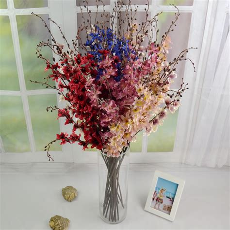 dry flowers decoration for home new high quality 90cm silk orchids branches red pink blue