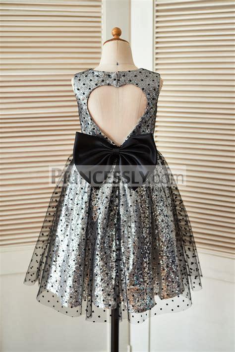 silver sequin black polka dot tulle flower girl dress